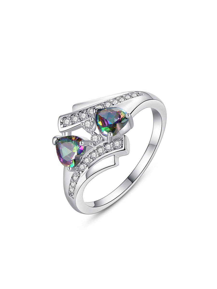 Hot Double Heart Zircon Hollow Engagement Ring