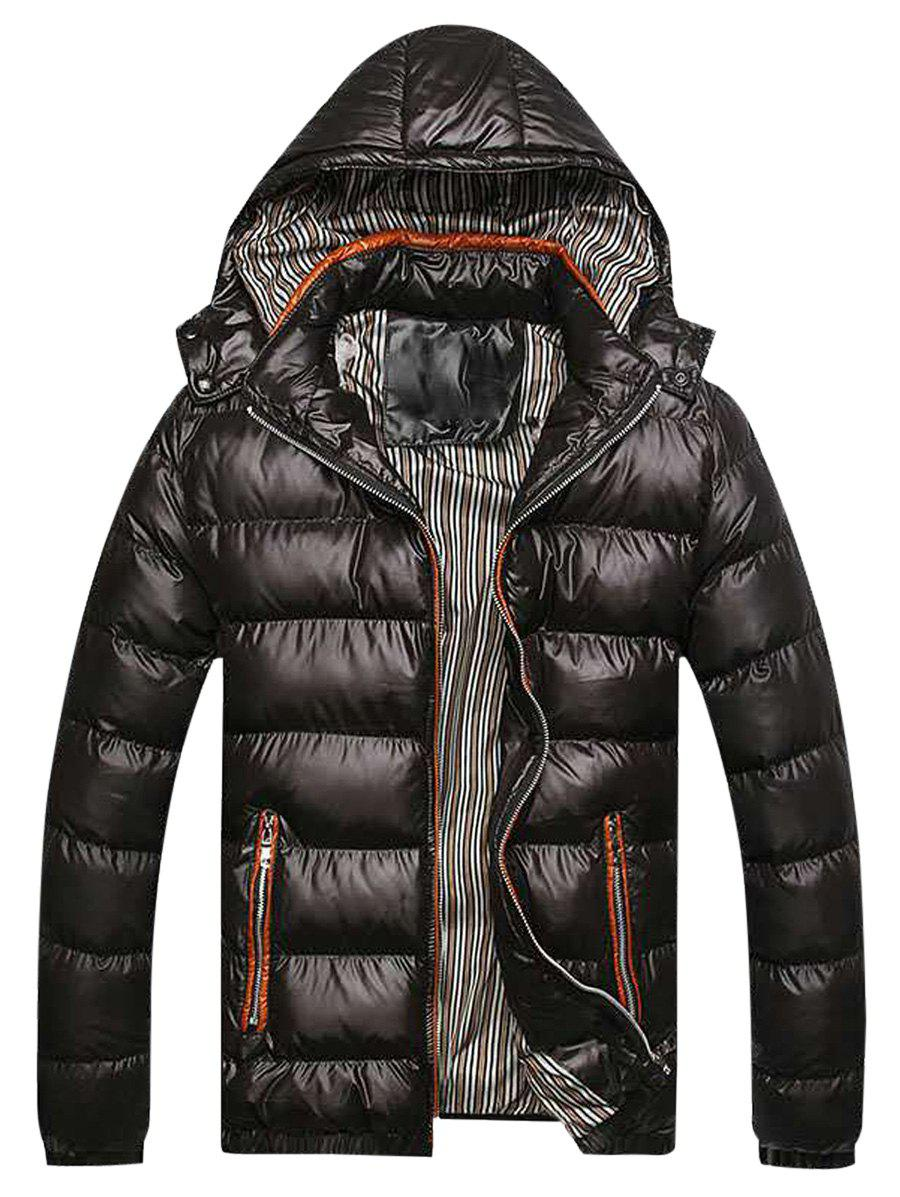 Hot Contrast Trim Hooded Padded Jacket
