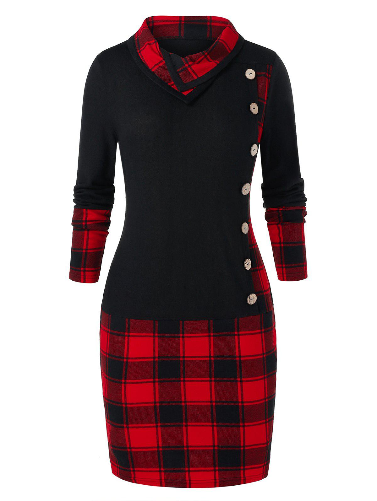 Chic Plus Size Plaid Panel Button Bodycon Dress