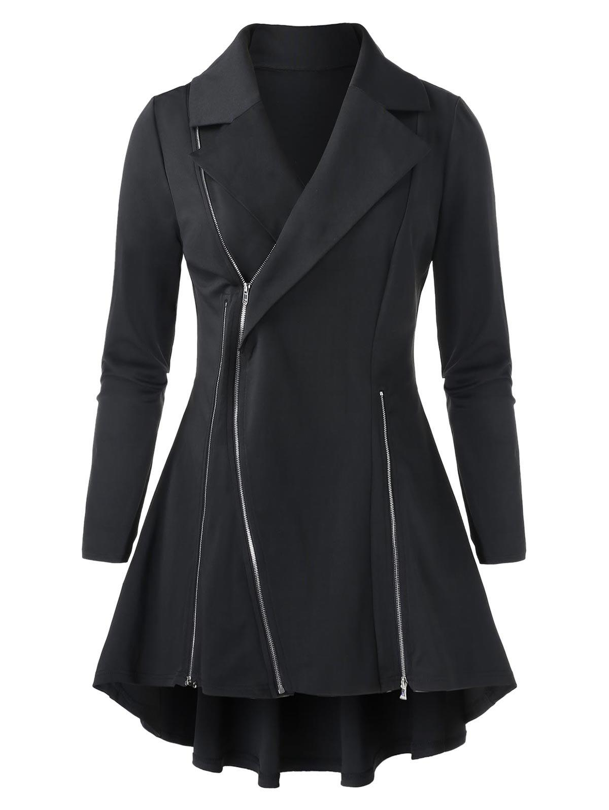 Discount Plus Size Lapel High Low Solid Coat