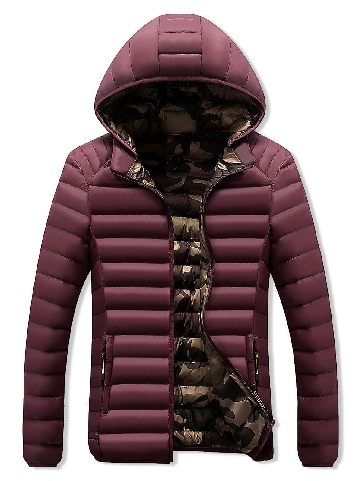 Chic Camo Lined Zip Up Puffer Jacket