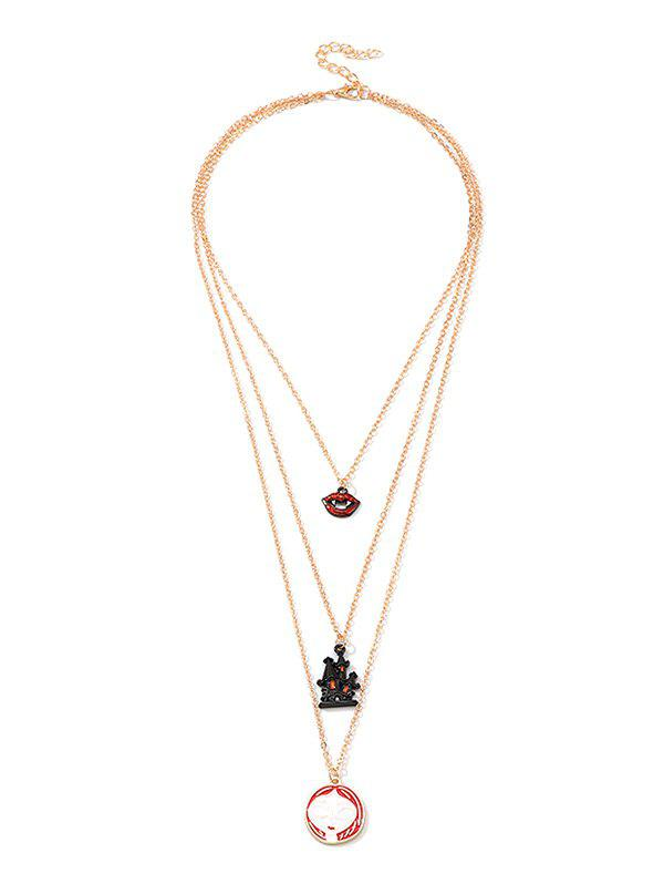 Store Halloween Lip Face Castle Multi-layered Chain Necklace