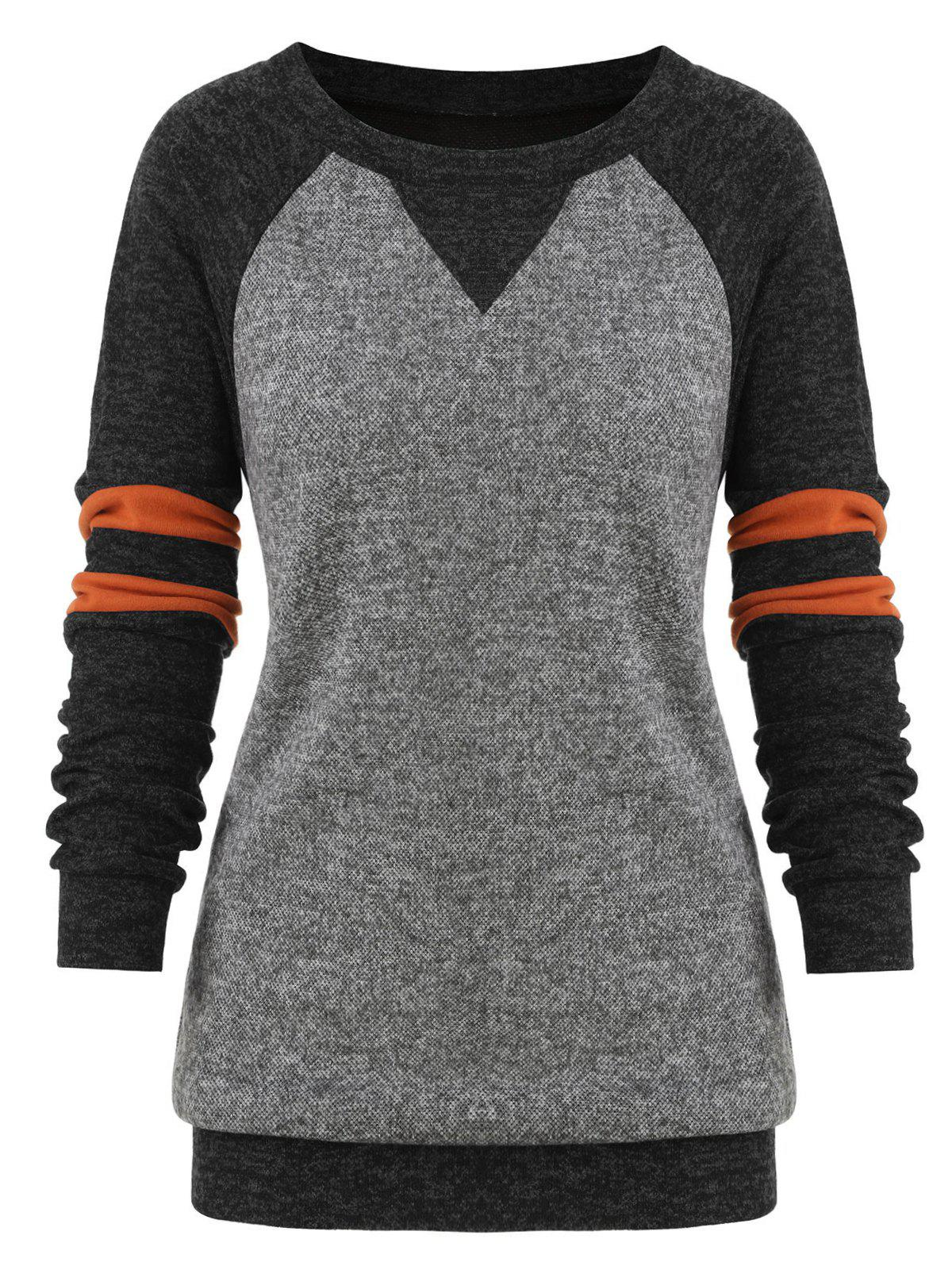 Outfit Plus Size Striped Colorblock Heathered Sweatshirt