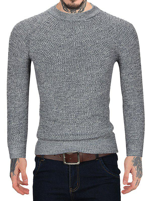 Pull Style Simple Manches Longues à Col Rond Gris L