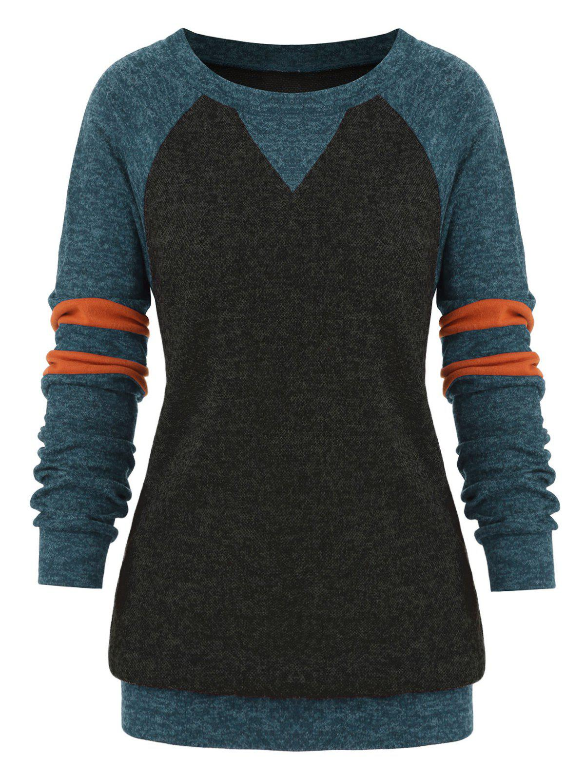 Affordable Plus Size Striped Colorblock Heathered Sweatshirt