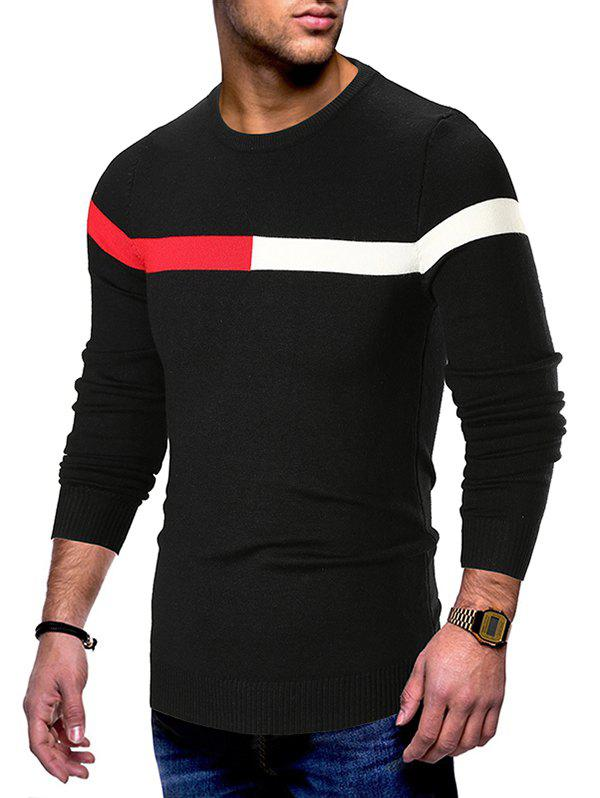 Hot Color Spliced Round Neck Sweater