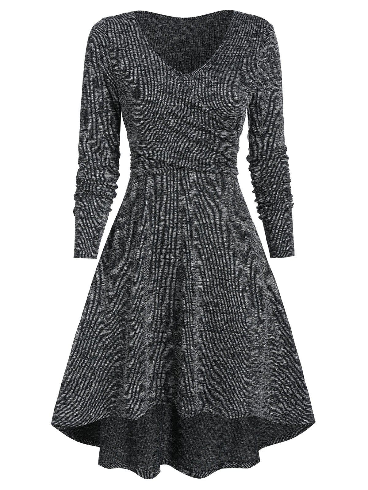 Shop Heathered V Neck High Low Dress
