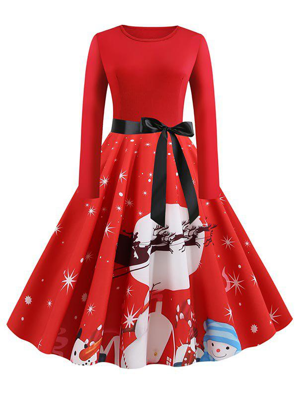 Outfits Plus Size Christmas Star Print Long Sleeve Midi Dress