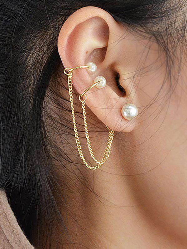 Unique Faux Pearl Chain Ear Cuff Earring
