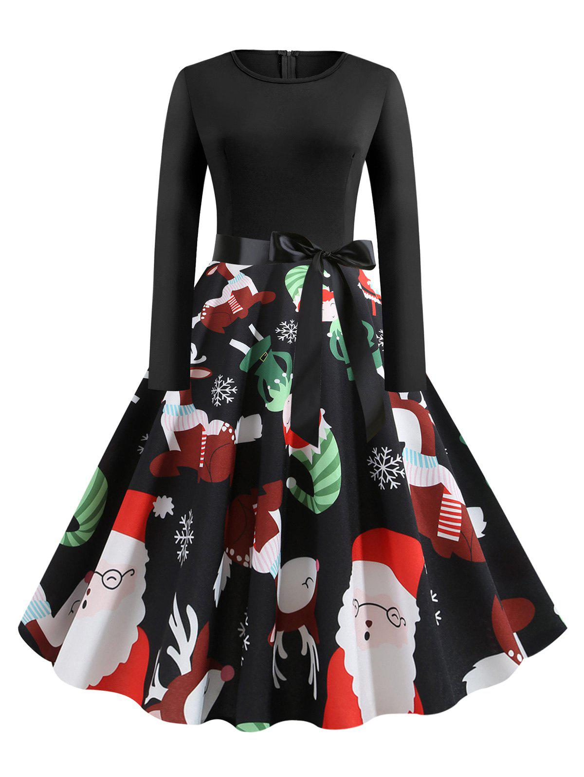 Discount Long Sleeve Belted Christmas Elk Snowflake Print Plus Size Dress