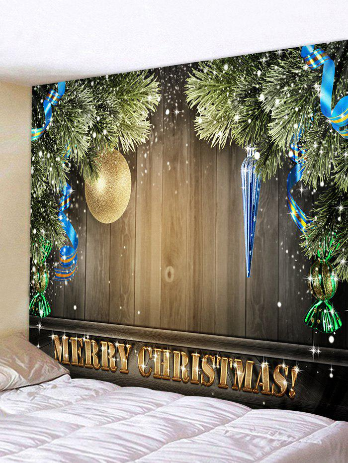 Fashion Merry Christmas Ball Wooden Pattern Tapestry