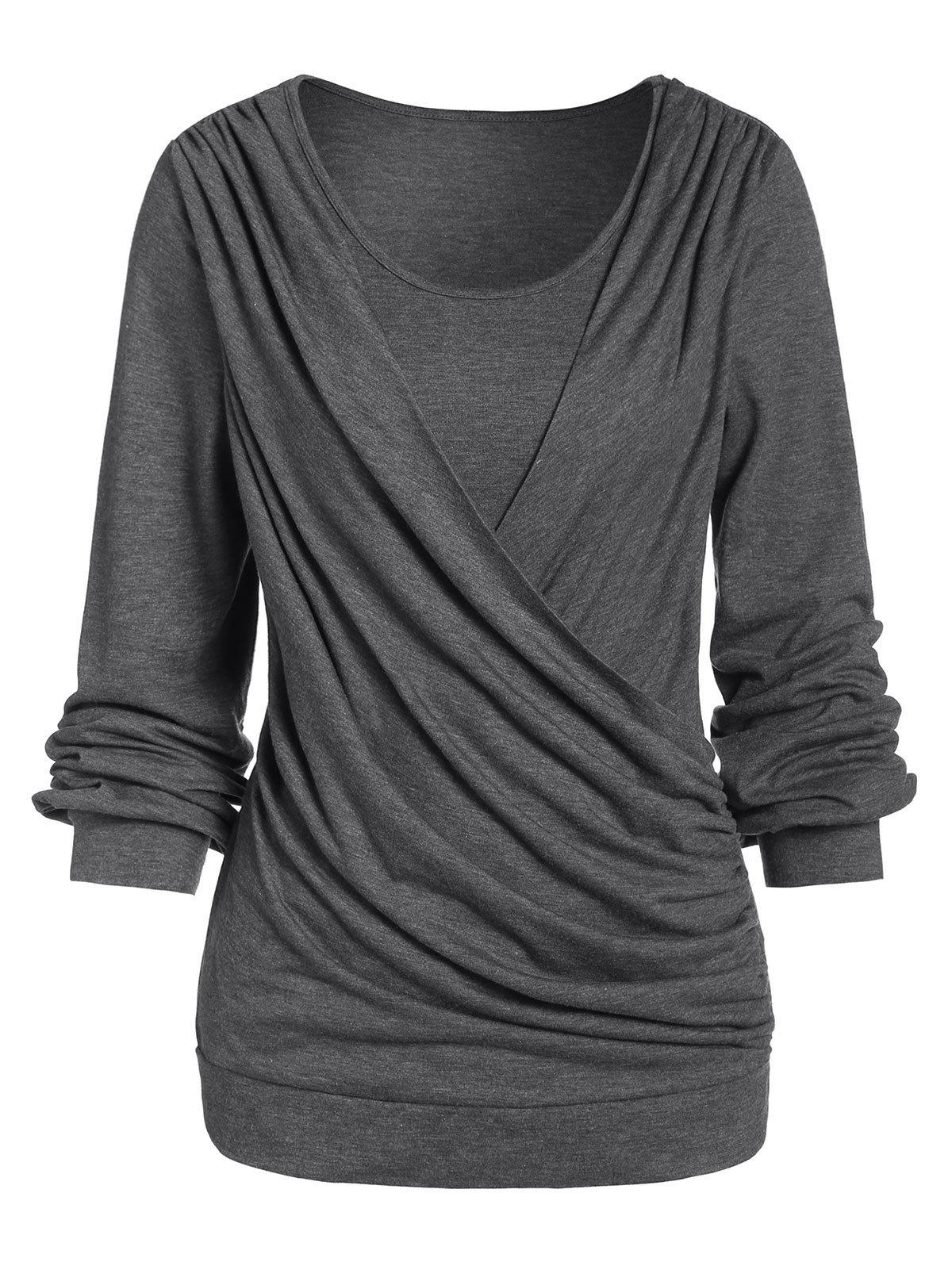 Cheap Space Dye Round Collar Long Sleeve T Shirt