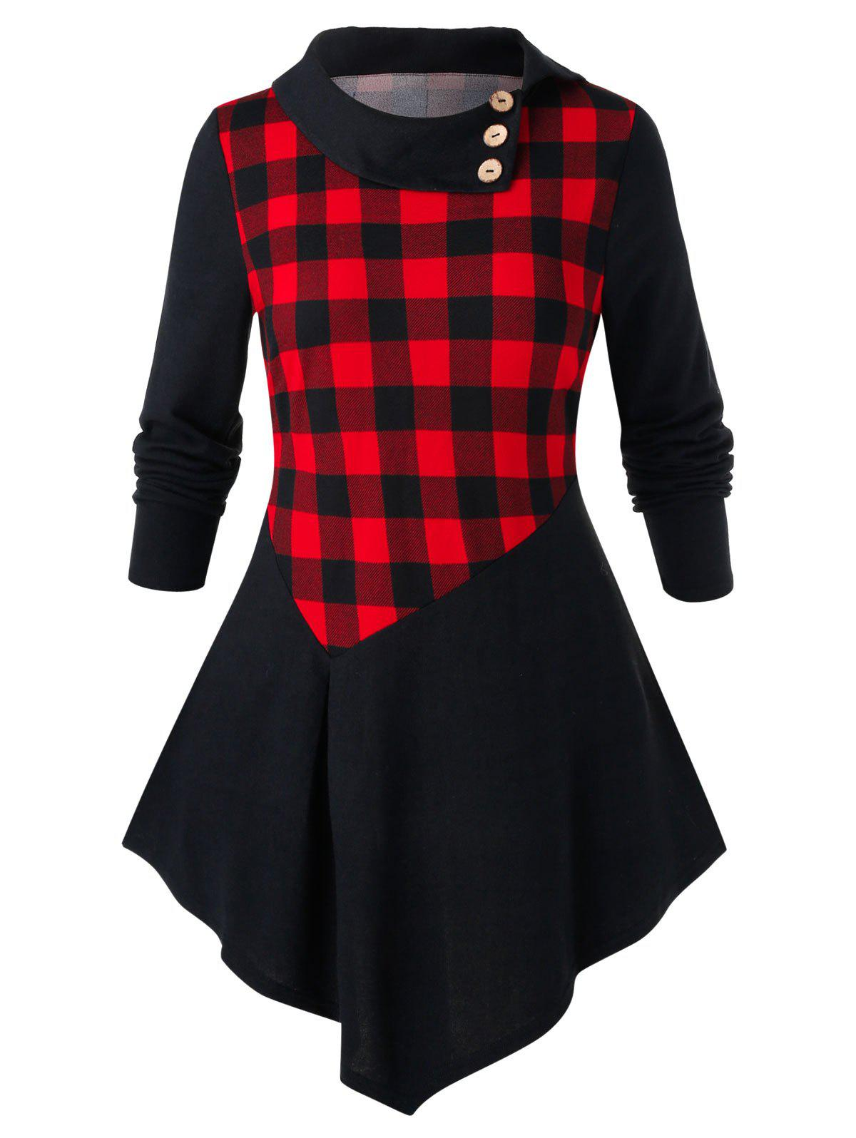 Chic Plus Size Checked Panel Tunic Turn-down Collar T Shirt