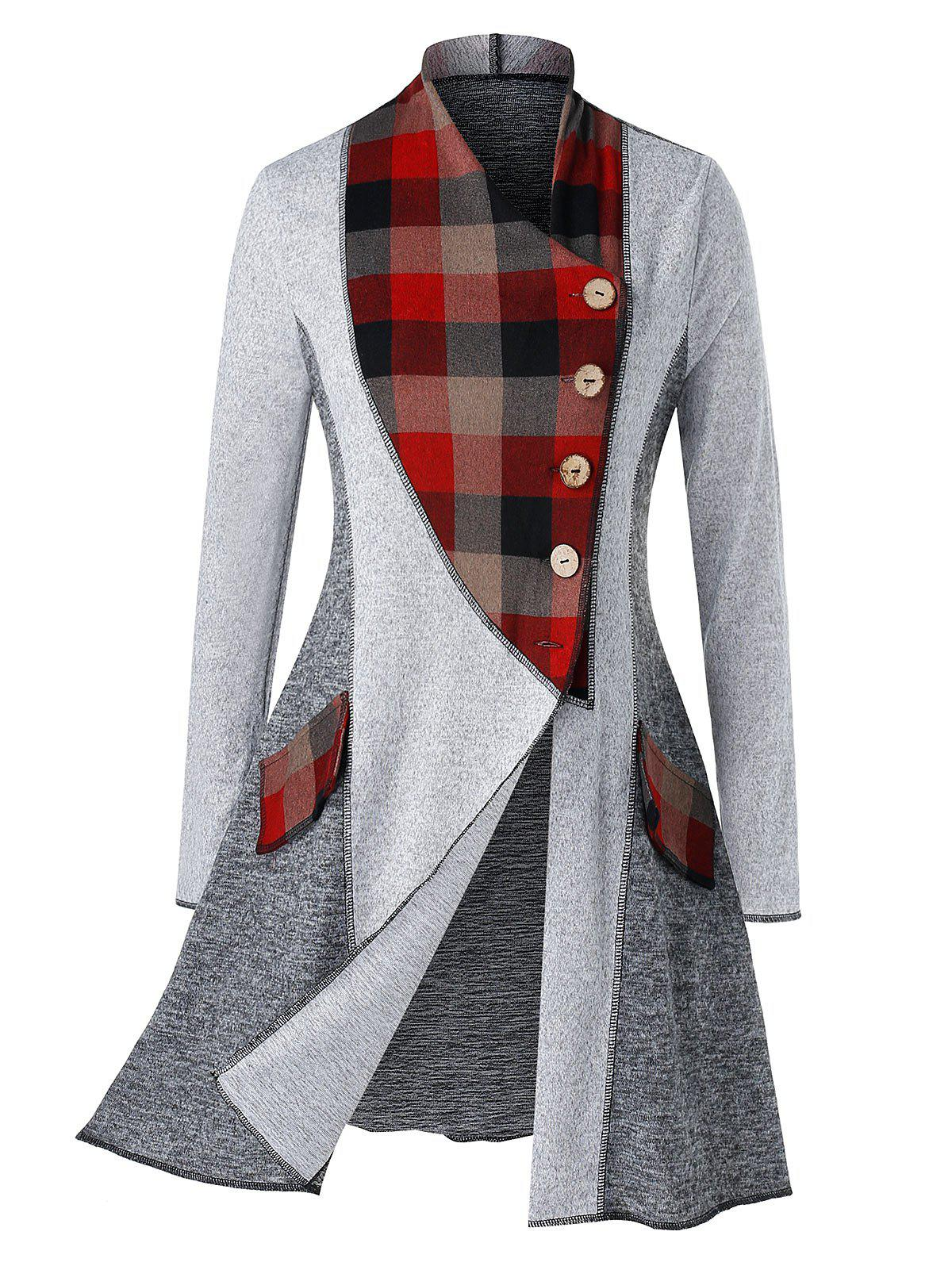 New Plus Size Plaid Colorblock Heathered Cardigan