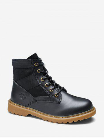 Round Toe Patch Ankle Cargo Boots