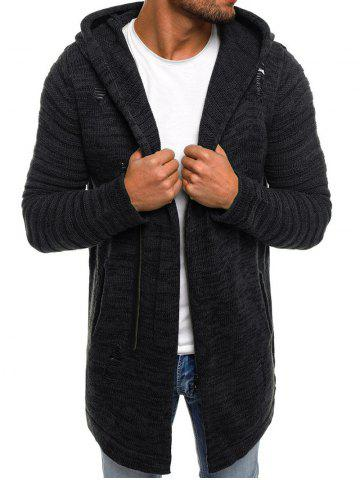 Ripped Zip Up Long Hooded Cardigan
