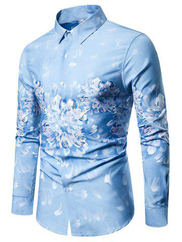 Floral Painting Print Long-sleeved Shirt
