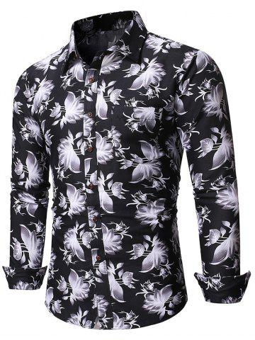 Chinese Ink Floral Print Pockets Button Up Shirt