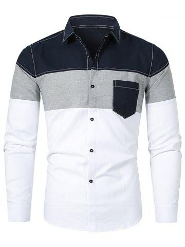 Colorblock Splicing Long-sleeved Button Up Shirt