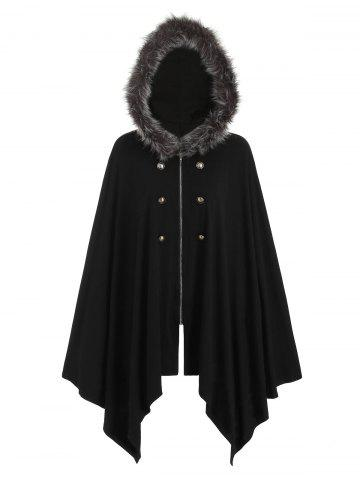Buttons Asymmetric Fur Trim Hooded Cardigan