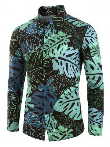 Plus Size Palm Leaves Print Button Up Long Sleeve Shirt
