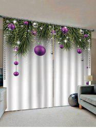 2 Panels Christmas Balls Tree Branch Print Window Curtains -