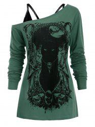 Cat Long Sleeves Gothic Tee with Cami Top -