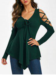 Crisscross Cold Shoulder Cinched Skirted T Shirt -
