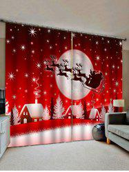 2 Panels Christmas Moon Night Village Print Window Curtains -