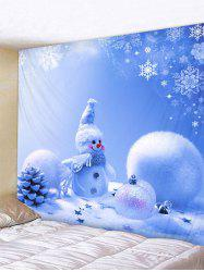 Christmas Snowman Printed Wall Hanging Tapestry -