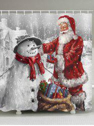 Christmas Santa Claus and Snowman Print Waterproof Bathroom Shower Curtain -