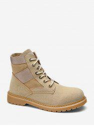 Round Toe Patch Ankle Cargo Boots -