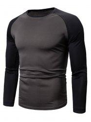 Color Spliced Full Sleeves Casual T-shirt -