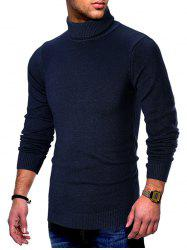 Solid Color Turtleneck Pullover Sweater -