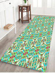 Geometric Flower Pattern Print Flannel Floor Mat -