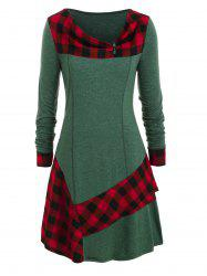 Plus Size Plaid Ruffled Skew Neck Long Tunic Tee -