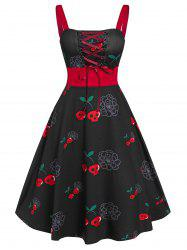 Vintage Lace Up Crâne Halloween Dress - Noir M
