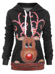 Reindeer Snow Front Pocket Christmas Loose Hoodie -