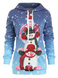 Snowman Front Pocket Christmas Loose Hoodie -