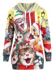 Cats Kangaroo Pocket Christmas Longline Hoodie -