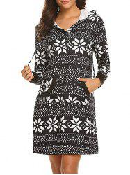 Geo Print Hooded Button Placket Dress -