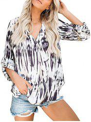 V Neck Tie Dye Roll Sleeve Blouse -