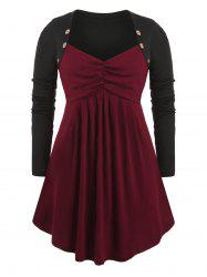 Plus Size Sweetheart Neck Colorblock Tunic Top -