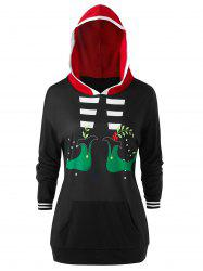 Plus Size Christmas Funny Graphic Pocket Drop Shoulder Hoodie -