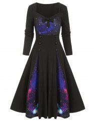 Galaxy Print Bowknot Buttoned Long Sleeve Dress -