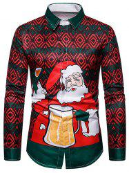 Christmas Santa Drinking Beer Graphic Button Up Shirt -