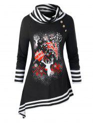 Plus Size Christmas Elk Print Striped Asymmetric Tunic Sweatshirt -