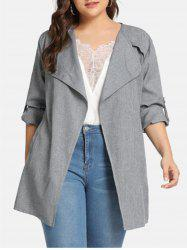 Belted Marl Open Front Plus Size Coat -