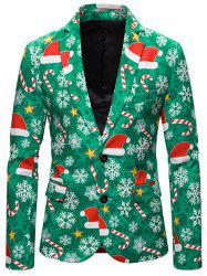 Christmas Hat Snowflake Single Breasted Casual Blazer -