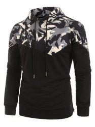 Plus Size Abstract Print Zipper Slit Pullover Hoodie -